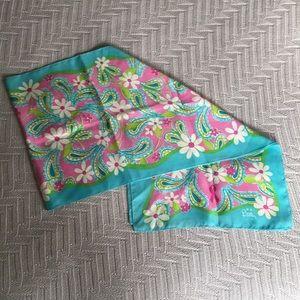 Lily Pulitzer breast cancer blue daisy silk scarf